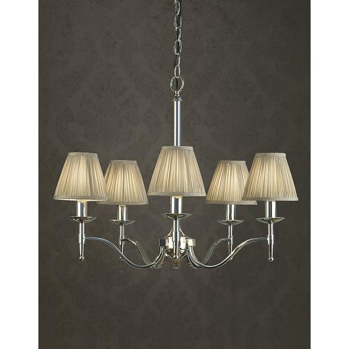 Viore Design Stanford 5 Light Nickel Chandelier - Shimmer Grey