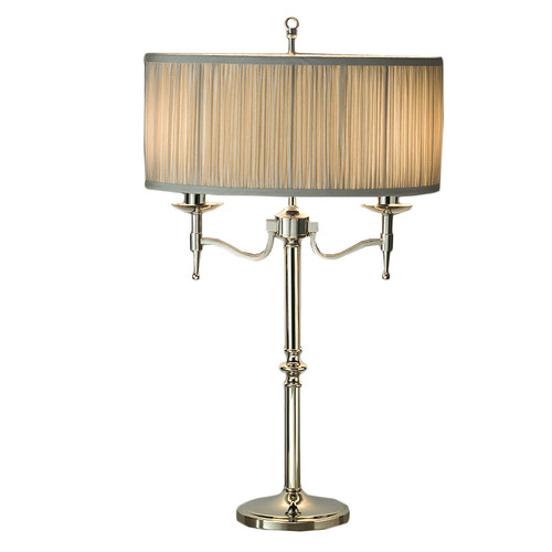 Viore Design Stanford 2 Light Nickel Table Lamp - Shimmer Grey