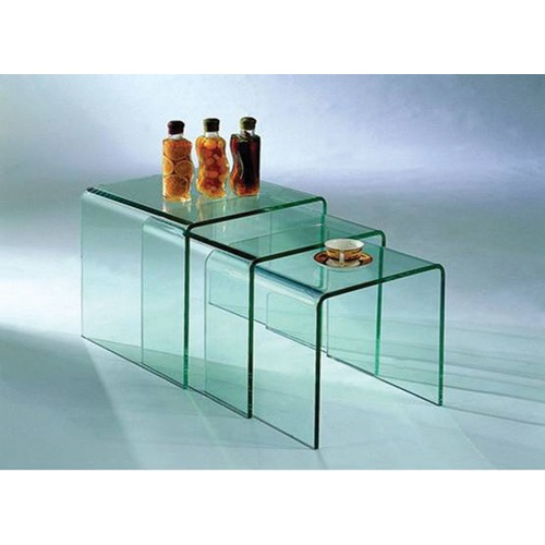By Designs 3 Piece Piper Bent Glass Nesting Tables Set