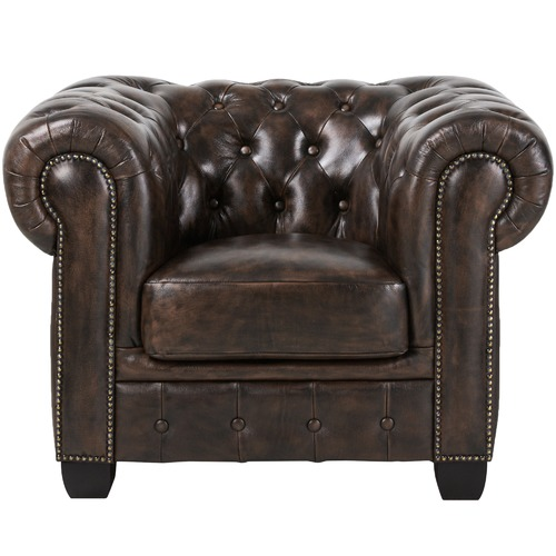 c368ccb1cf97 By Designs Single seater Max Chesterfield Leather Armchair & Reviews ...