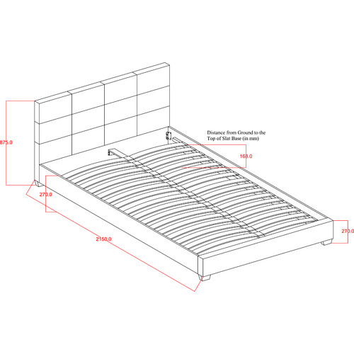 VIC Furniture PU Liam Upholstered Queen Bed Frame