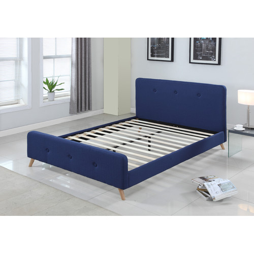 modern scandinavian queen size fabric bed frame | temple & webster