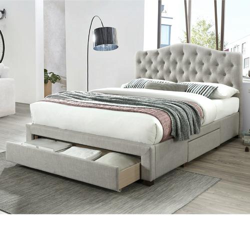 IQ Kids & Furniture Pty Ltd Grey Kiev Upholstered Bed Frame with Storage