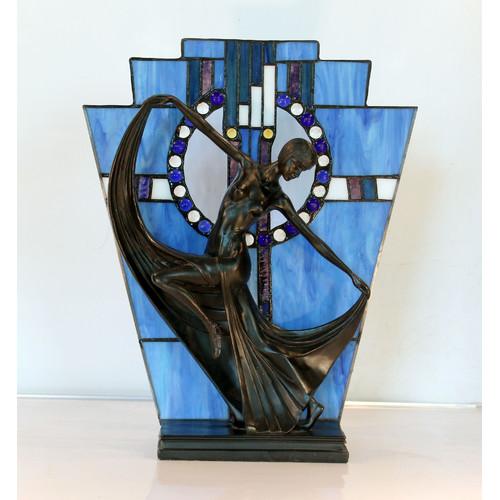 G & G Brothers Leadlight Art Deco Lamp Blue