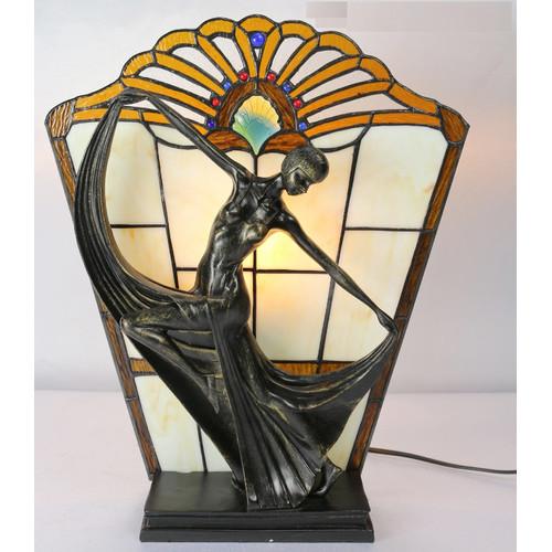 G & G Brothers Leadlight Art Deco Lamp Orange