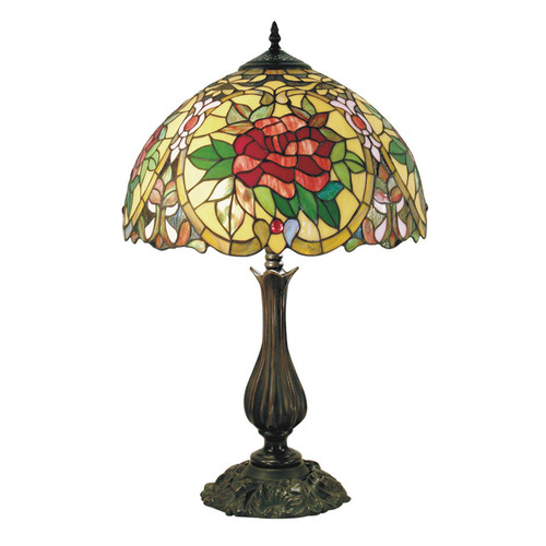 G & G Brothers Small Camellia Tiffany Table Lamp