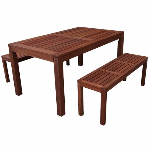 Woodlands Outdoor Furniture 4 Seater Lisbon Outdoor Dining Table & Bench Set