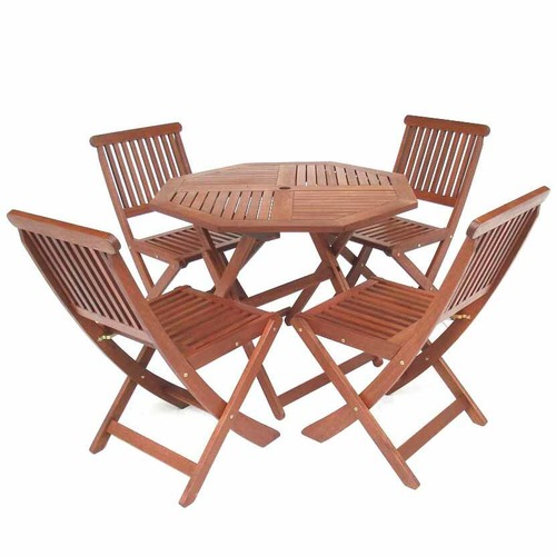 Woodlands Outdoor Furniture 4 Seater Folding Octagonal Outdoor Dining Table & Chair Set