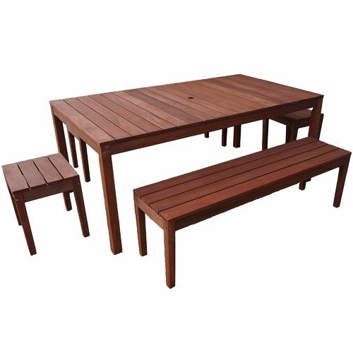 Woodlands Outdoor Furniture 8 Seater Outdoor Table \u0026&; Bench Set  sc 1 st  Temple \u0026 Webster & 8 Seater Outdoor Table \u0026 Bench Set | Temple \u0026 Webster