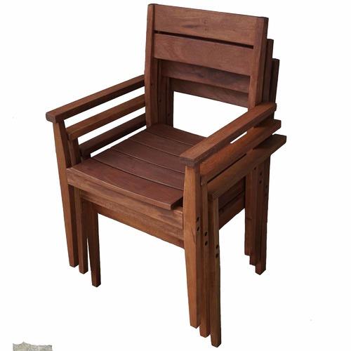 Woodlands Outdoor Furniture Stackable Outdoor Wooden Armchair