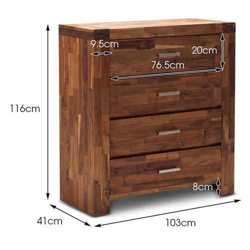 Continental Designs Acacia Maya 4 Drawer Tallboy