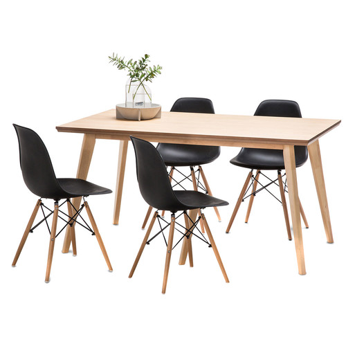 Continental Designs Wyatt Dining Table Set With 4 Eames Replica Chairs
