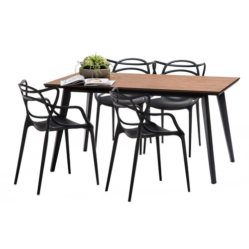 Continental Designs Walnut Bruno Dining Table Set With 4 Black Phillipe Starck  Master Chairs