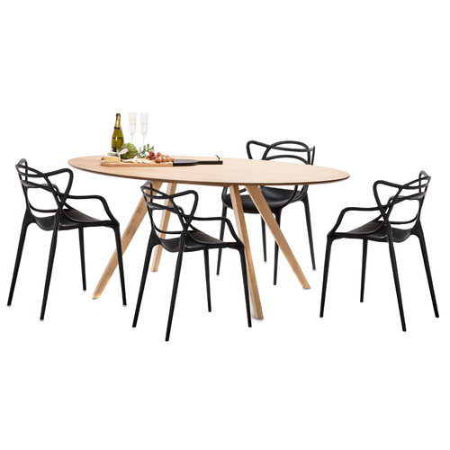 Continental Designs Carol Dining Table Set With 4 Phillipe Starck Master  Chairs