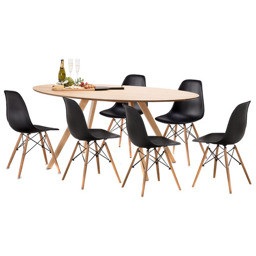 Carol dining table set with 6 replica eames chairs temple webster - Replica eames dining table ...