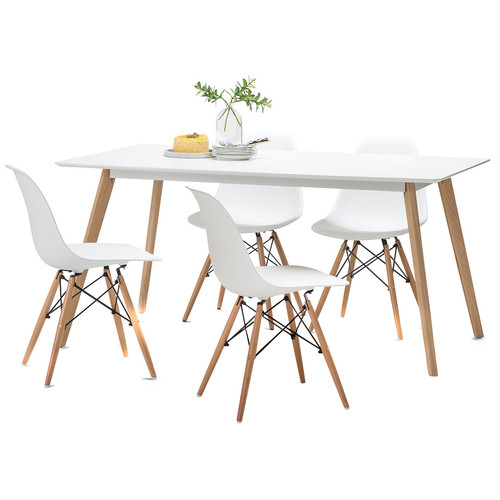 White Home Office Furniture Collections : White Scandi Dining Table Set with 4 White Replica Eames Chairs 702 058 Kit 1 from pixelrz.com size 500 x 500 jpeg 41kB