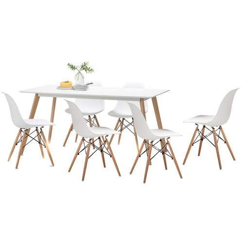 Superieur White Scandi Dining Table Set With 6 White Replica Eames Chairs | Temple U0026  Webster