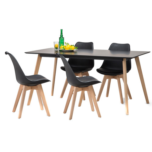 Black Scandi Dining Table Set With 4 Black Padded Eames Chairs