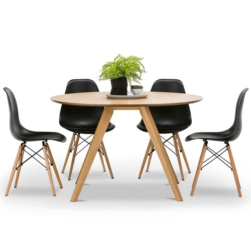 Milari Round Dining Table Eames Replica Chairs Set