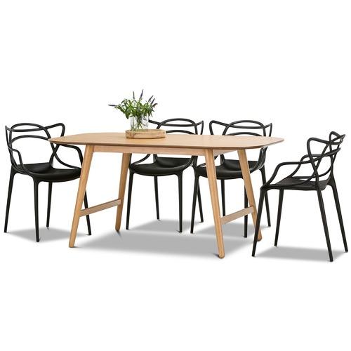 Continental Designs 5 Piece Ceyla Dining Table U0026amp; Phillipe Starck Master  Chairs Set