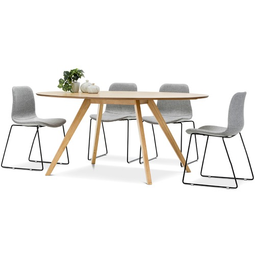 Bruno dining table with white hay scoop replica chairs set for Hay replica