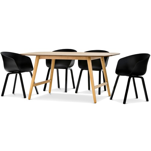 ceyla dining table with black hay scoop replica chairs set temple webster. Black Bedroom Furniture Sets. Home Design Ideas