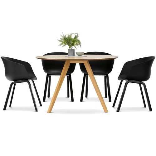 milari round dining table with black hay scoop replica chairs set temple webster. Black Bedroom Furniture Sets. Home Design Ideas