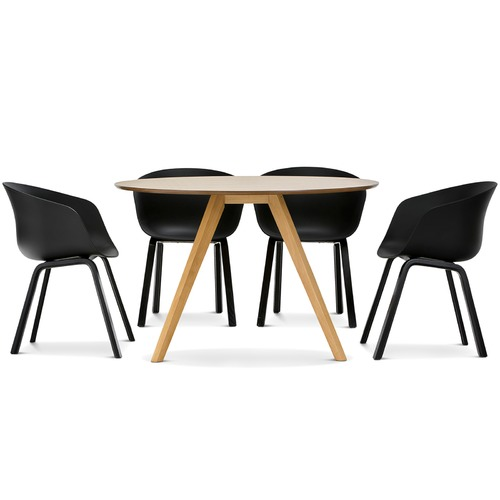 Milari round dining table with black hay scoop replica for Hay about a chair replica