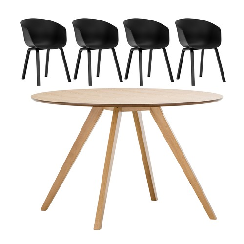 Milari round dining table with black hay scoop replica for Hay replica