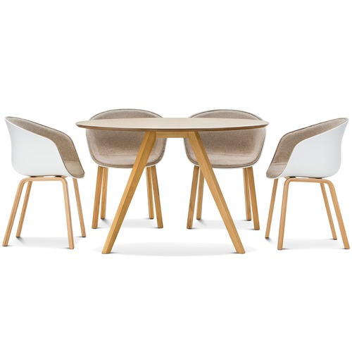 Milari round dining table with white hay scoop replica for Hay about a stool replica