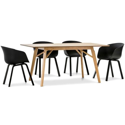 alysa dining table with black hay scoop replica chairs set temple webster. Black Bedroom Furniture Sets. Home Design Ideas