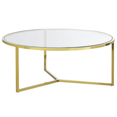 Continental Designs Gold Polished Luxe, Gold Round Coffee Table