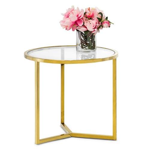 Continental Designs Gold Polished Luxe Round Side Table