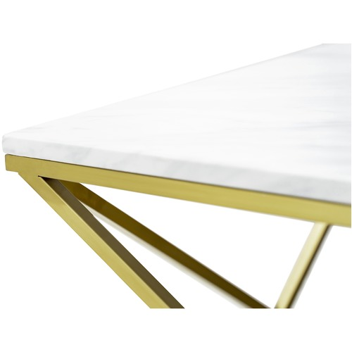 Continental Designs Brushed Gold Luxe Geo Marble Coffee Table