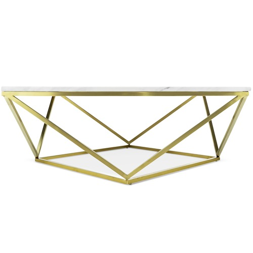 Brushed Gold Luxe Vivianne Marble Coffee Table