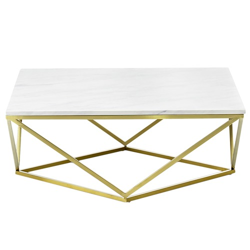 Brushed Gold White Marble Rectangular Coffee Table: Brushed Gold Luxe Geo Marble Coffee Table