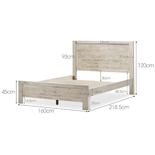 Continental Designs White Wash Arya Acacia Wood Queen Bed Frame