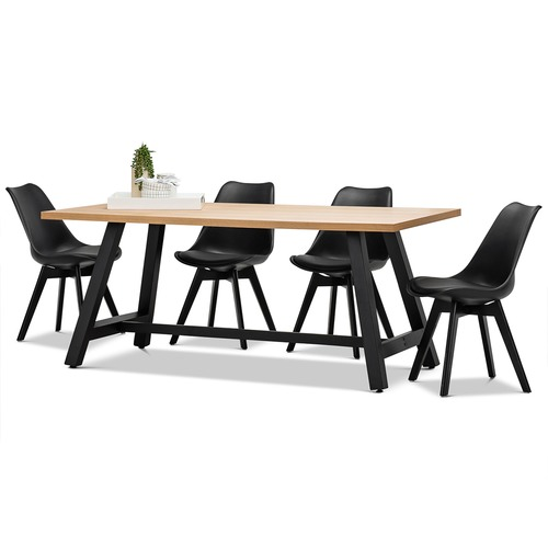 Brooklyn Dining Table Eames Replica Padded Chairs Set