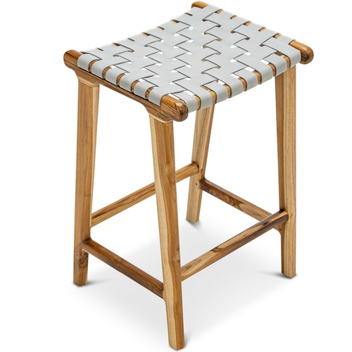 Continental Designs Cassie Leather & Teak Counter Stool