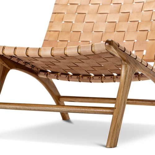 Cool Cassie Woven Leather Teak Lounge Chair Download Free Architecture Designs Rallybritishbridgeorg
