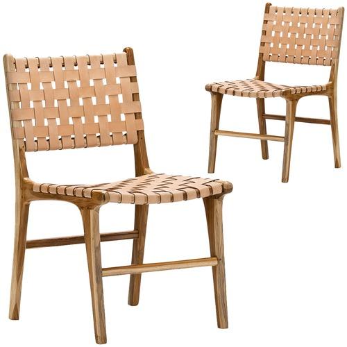Groovy Cassie Woven Leather Teak Dining Chairs Set Of 2 Creativecarmelina Interior Chair Design Creativecarmelinacom