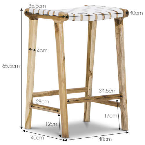 Continental Designs 66cm Cassie Leather & Teak Counter Stool