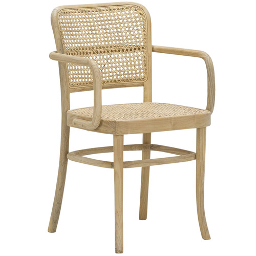Samira Teak Cane Dining Chair With Arms Temple Webster