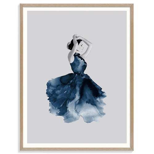 Our Artists' Collection Lady in Blue Printed Wall Art
