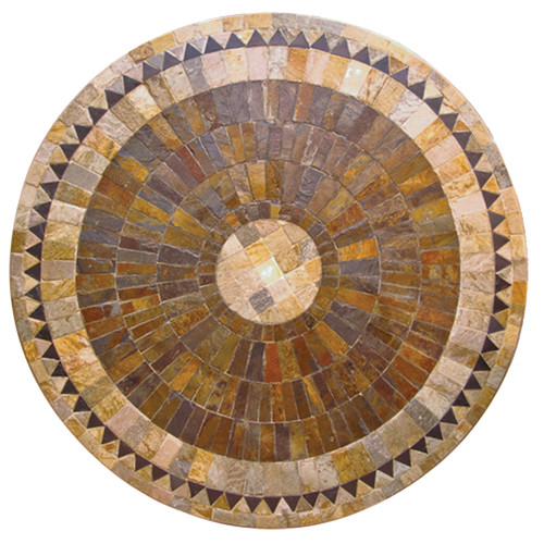 Cast Iron Outdoor Sunray Round Mosaic Stone Table On Iron Base