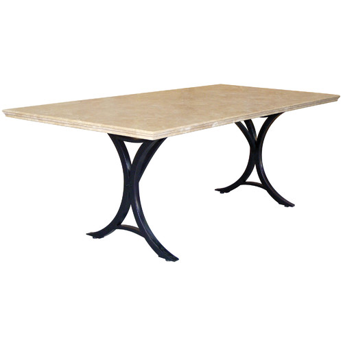 Cast Iron Outdoor Delphi Travertine Table on Iron Base