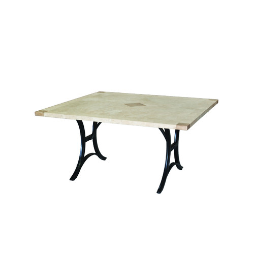 Cast Iron Outdoor Delphi Square Travertine Table on Iron Base