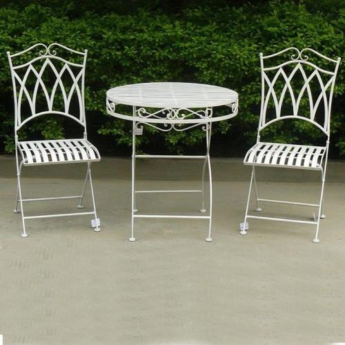 Cast Iron Outdoor Albany 3 Piece, White Rod Iron Patio Furniture