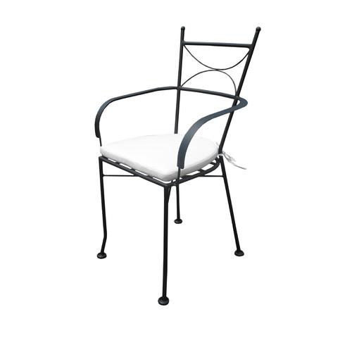 Cast Iron Outdoor Dianna Black Metal Armchair & Cushion