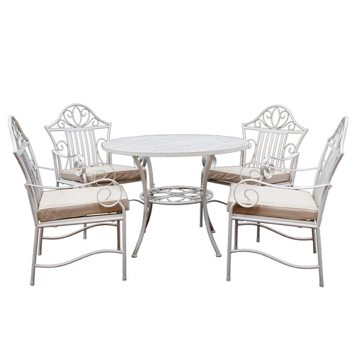 Cast Iron Outdoor 5 Piece Lotus Iron Outdoor Dining Table U0026amp; Chair Set